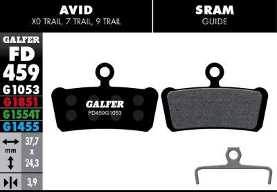 Plaquettes de frein Galfer Avid/SRAM Trail et Guide Semi-métallique Advanced Rouge