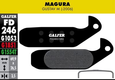 Plaquettes de frein Galfer Magura Gustav M Semi-métallique Advanced Rouge