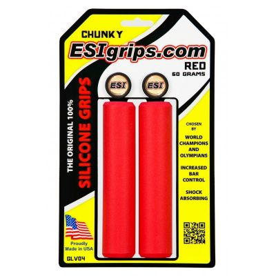 Poignées ESI Grips Chunky silicone 32 mm Rouge