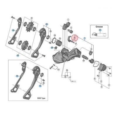 Levier de dérailleur Shadow+Shimano XTR RD- M9050