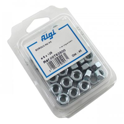 Écrous Algi 6 pans D. 8mm (Lot de 45)