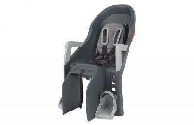 Porte-bébé arrière Polisport Guppy Maxi + CFS Sur porte-bagages Compatible VAE Gris foncé/Argent