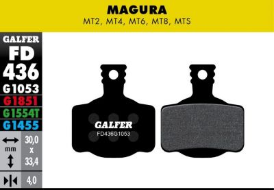 Plaquettes de frein Galfer Magura MT Semi-métallique Standard Noir
