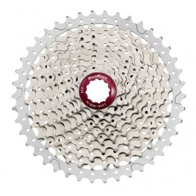 Cassette SunRace MX3 10V 11-40 dents Argent/Rouge