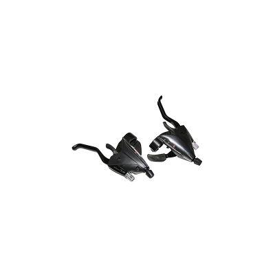 Levier-manette Saiguan Azera 3x8V comp. Shimano Alu pour frein V-Brake (Paire) Noir
