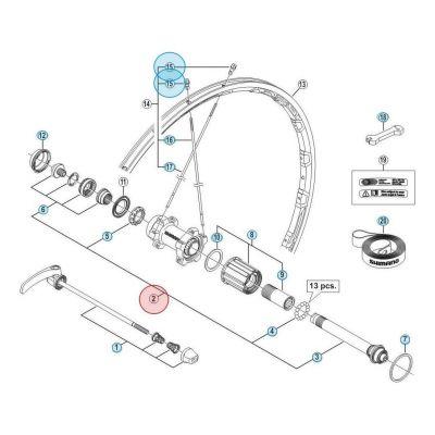 Axe Arrière Complet pour roue Shimano Ultegra 6800 WH-6800-R