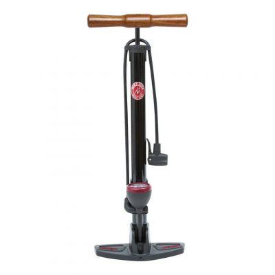 Pompe à pied Retro Pressure à manomètre et poignée bois Noir