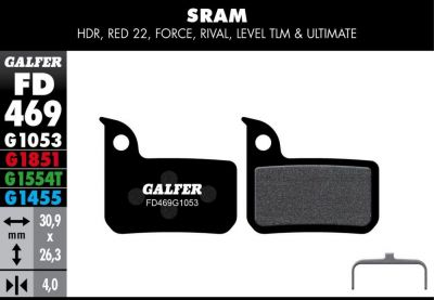 Plaquettes de frein Galfer SRAM Red 22 Force Riva Semi-métallique Advanced
