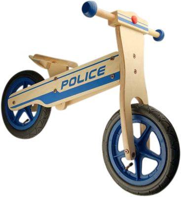 Draisienne en bois 12'' Moto Police Marron/Bleu