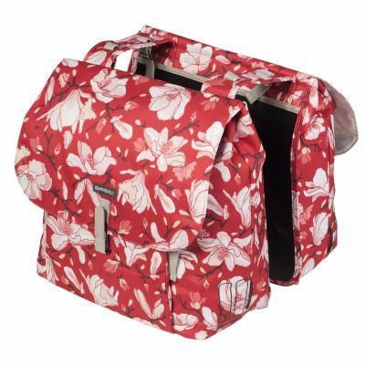 Sacoche arrière double BASIL Magnolia Imperméable Fixation crochet-ressort 35 L Poppy Rouge
