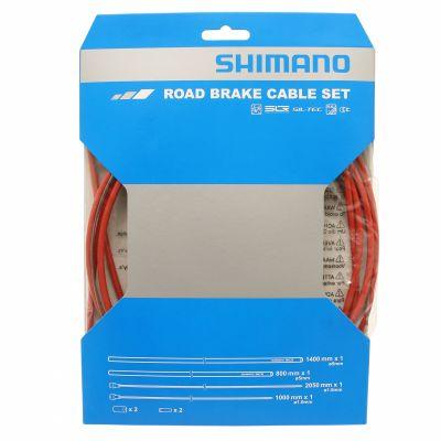 Kit câbles et gaine de frein Shimano Teflon Rouge