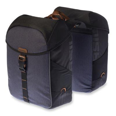 Sacoche double BASIL Miles étanche Sur porte-bagages 34 L Noir/Gris Slate