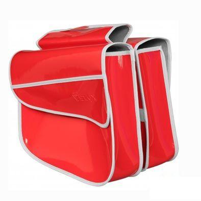 Sacoche vélo VELOX porte-bagages À pont 2 volumes Rouge Vernis