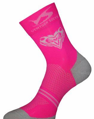 Chaussettes Ventura Socks Carbone Tête de mort Cœur Rose/Blanc