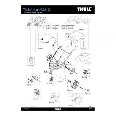 Cache de support de roulette avant Thule Urban Glide 2 - 40105256