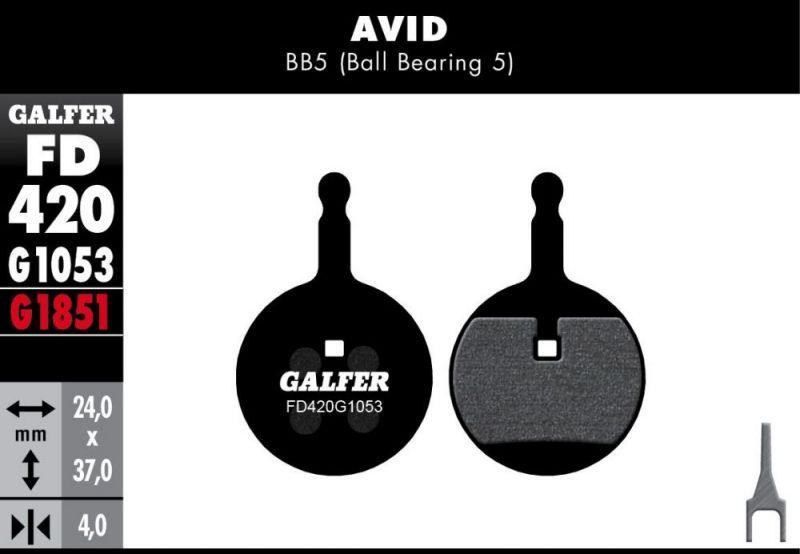 Plaquettes de frein Galfer Avid BB5 Semi-métallique Standard Noir