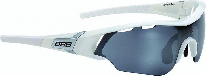 Lunettes BBB Summit Blanc brillant, logo argent, verres fumés 5007 - BSG-50