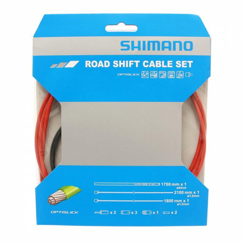 Kit câbles et gaine de vitesses Shimano Optislick Rouge