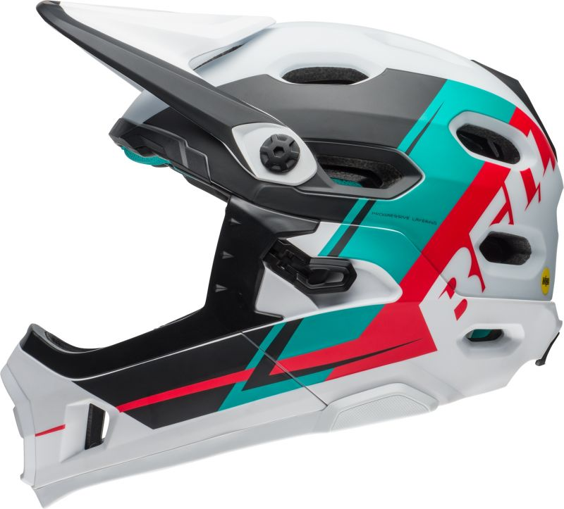 casque vtt bmx bell super dh mips mentonni re amovible blanc emerald hibiscus sur ultime bike. Black Bedroom Furniture Sets. Home Design Ideas