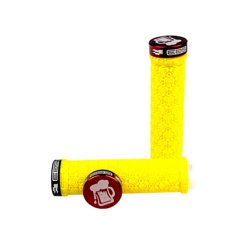 Poignées lock-on SB3 Logo Grip Belgium Beer Jaune/Rouge
