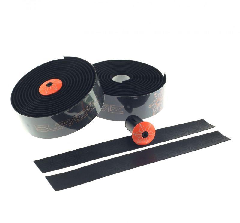 Ruban de cintre Supacaz Super Sticky Kush Tape Noir/Imprimé Orange Fluo