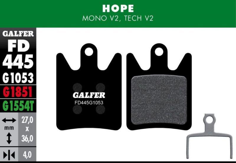 Plaquettes de frein Galfer Hope Mono / Tech V2 Semi-métallique Pro Vert