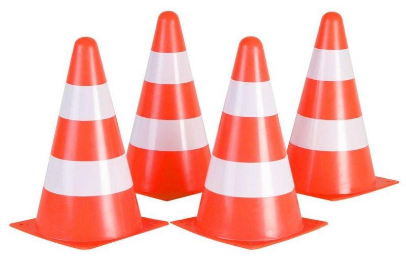 Jeu de 4 plots de balisage Hudora 22,5 cm x 13 cm Orange/Blanc