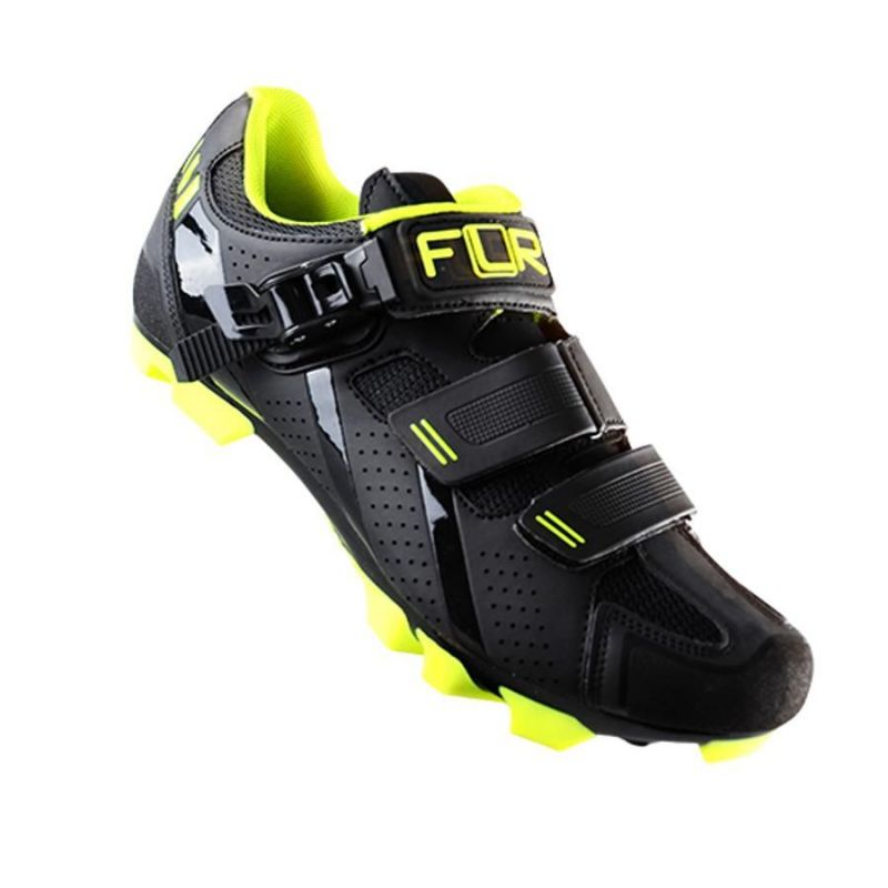 Chaussures VTT FLR Elite F-65 Clic + 2 Bandes auto agrippantes Noir/jaune