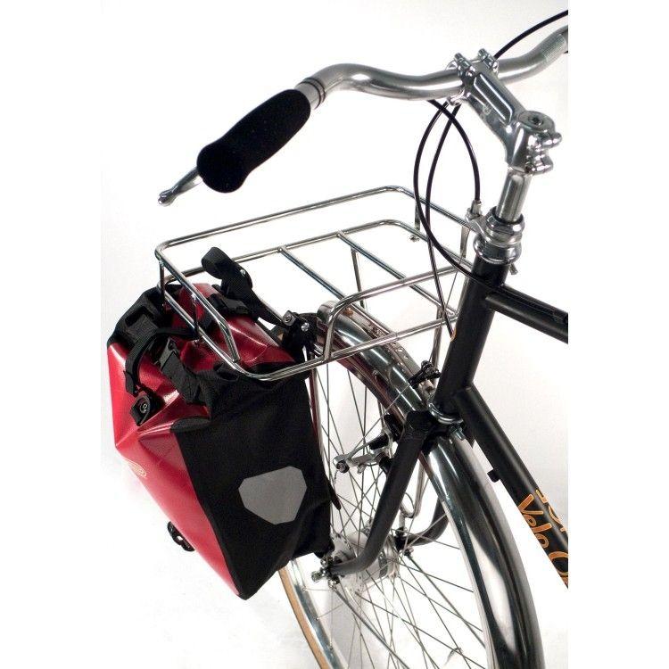 Porte bagages avant velo orange porteur rack acier inox - Porte bagage avant fourche suspendue ...