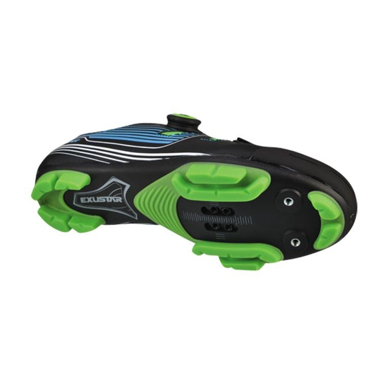Chaussures VTT Exustar Comp E-SM3136 Noir/Vert/Bleu - 1