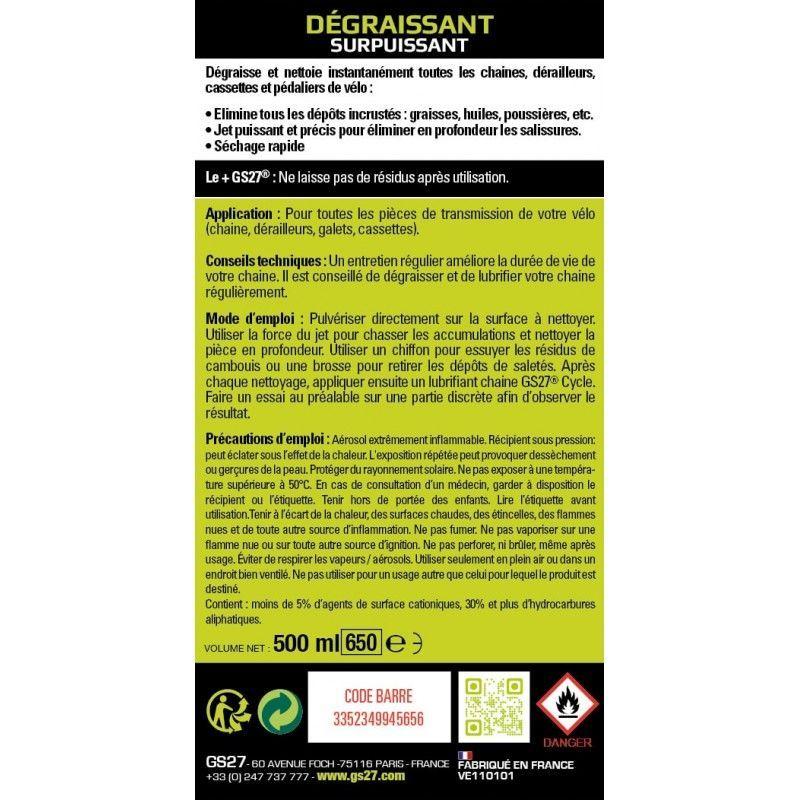 Dégraissant surpuissant GS27 Cycle Spray 500 ml - 1