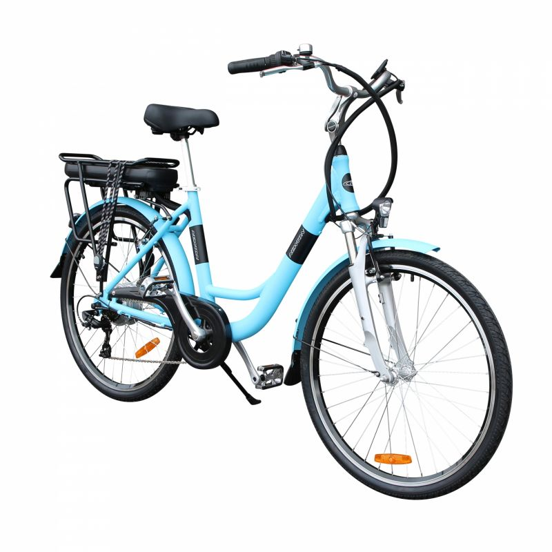 """Vélo électrique ville Newton Alu 26"""" Mixte 6V 36V/468 Wh Bleu - 2"""