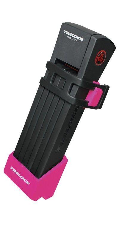 Antivol pliable Trelock TWO.GO FS200/75 avec support Rose
