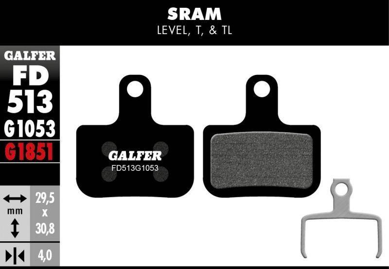 Plaquettes de frein Galfer SRAM Level Semi-métallique Advanced Rouge