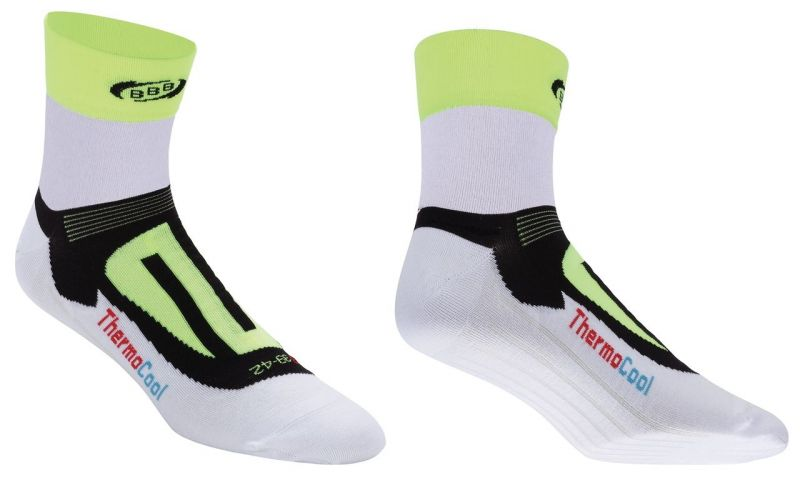 Chaussettes BBB ErgoFeet ThermoCool (blanc/jaune fluo) - BSO-04