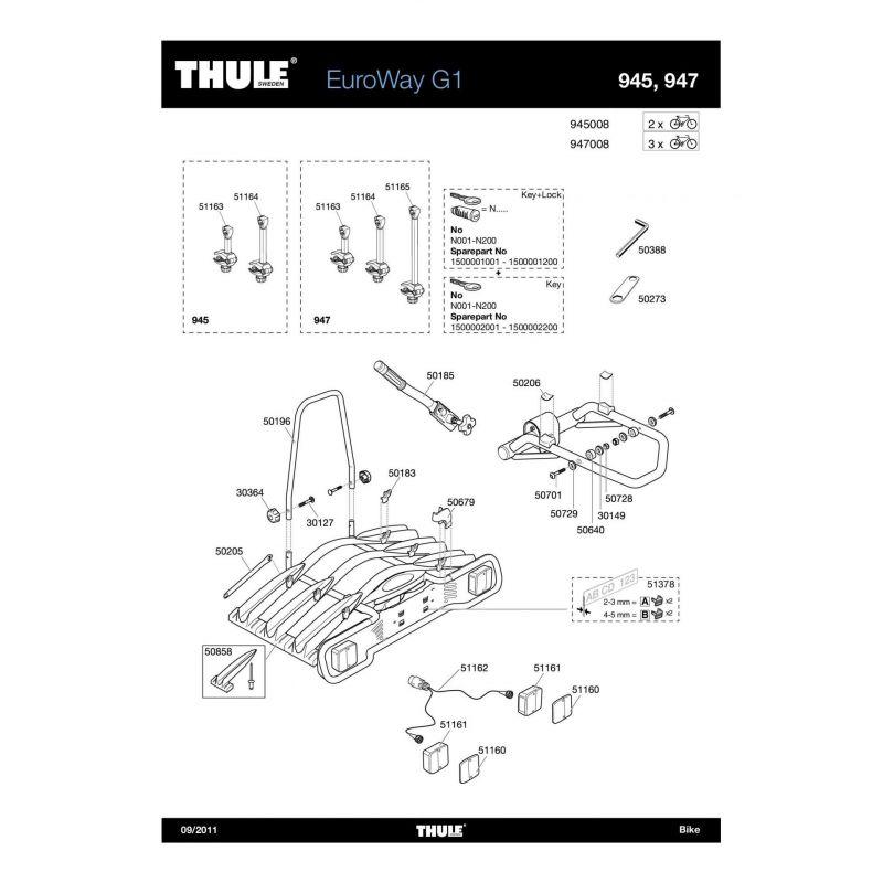 Bras de fixation long 3e vélo Thule EuroWay 923/946/947 - 1