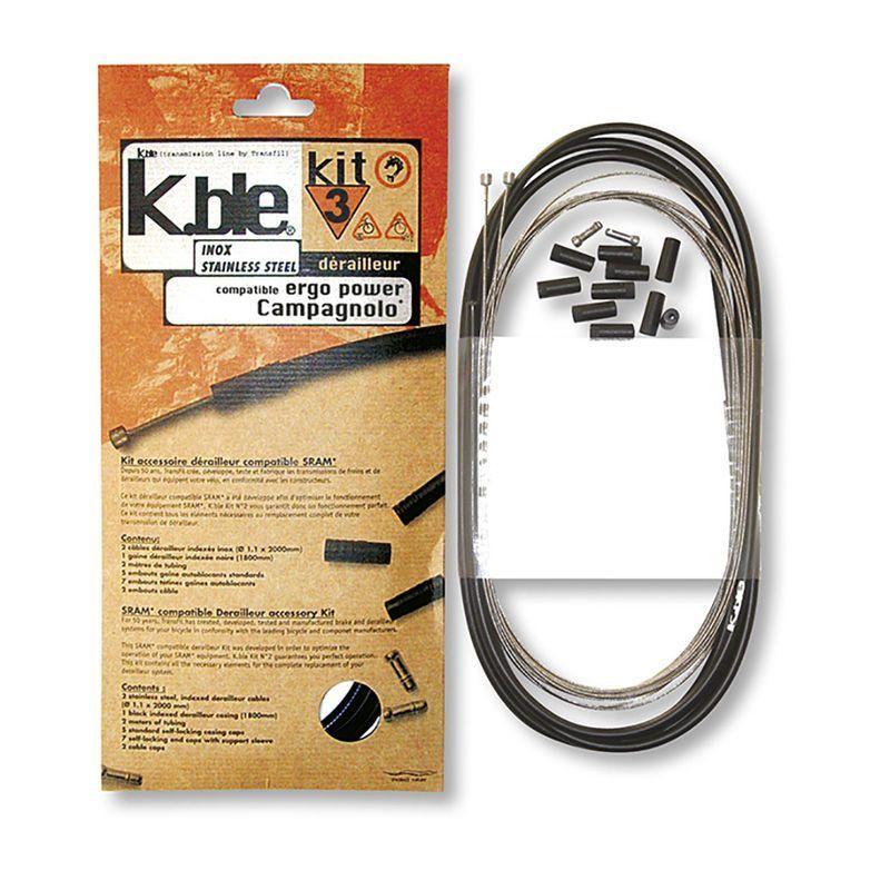 Kit câbles et gaine de dérailleur Transfil K.ble inox comp. Campagnolo ErgoPower Noir