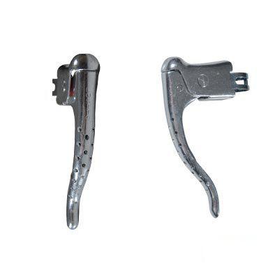 Levier de frein route rétro aluminium ajouré (Paire) Argent