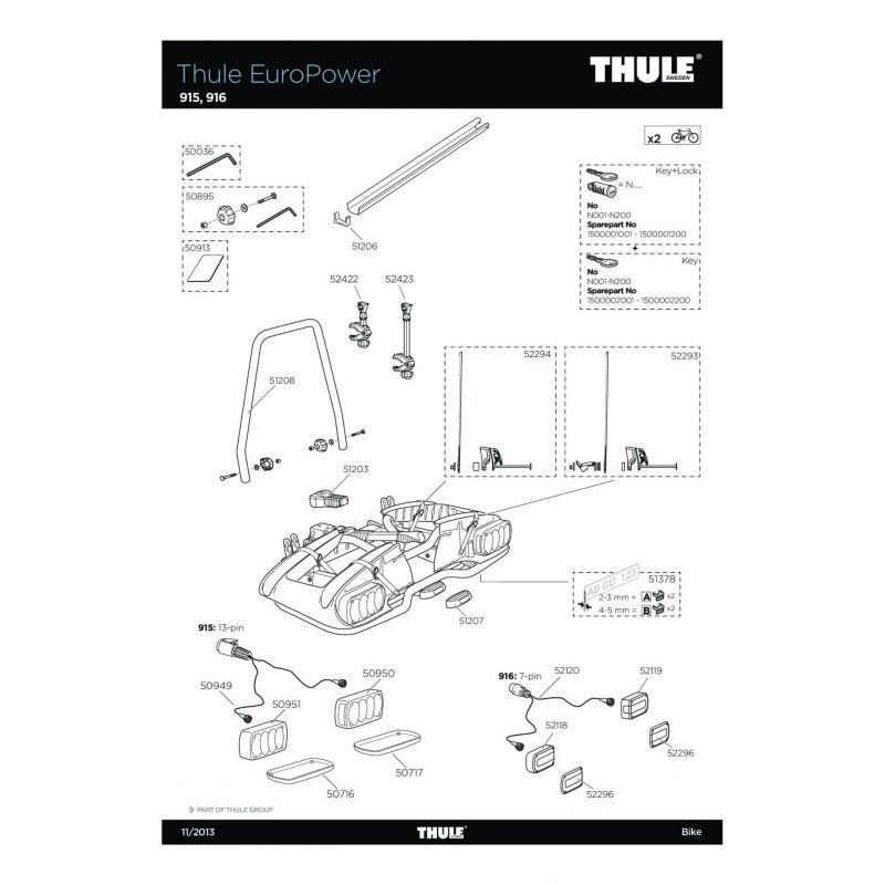 EuroClassic G5 et EuroClassic G6-THULE EuroPower Thule 50949 Faisceau EuroRide