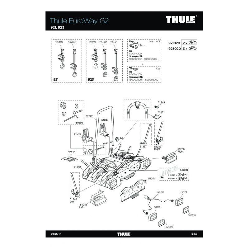 Bras de fixation court 1er vélo Thule 920/922 et Euroway G2 921/923 - 2