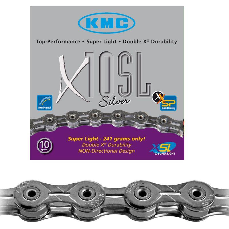 Chaîne vélo KMC 10 vitesses X10SL 112M Argent