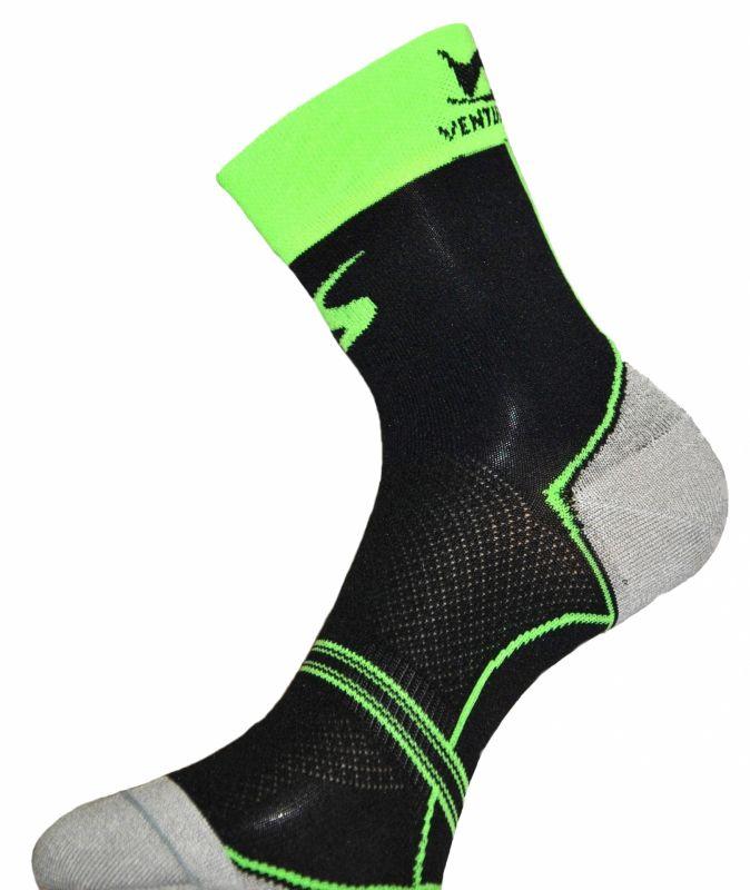 Chaussettes Ventura Socks Carbone Classic Noir/Vert fluo