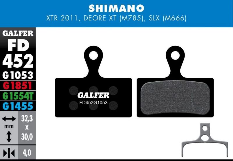 Plaquettes de frein Galfer Shimano XTR / XT / SLX Semi-métallique Advanced Rouge