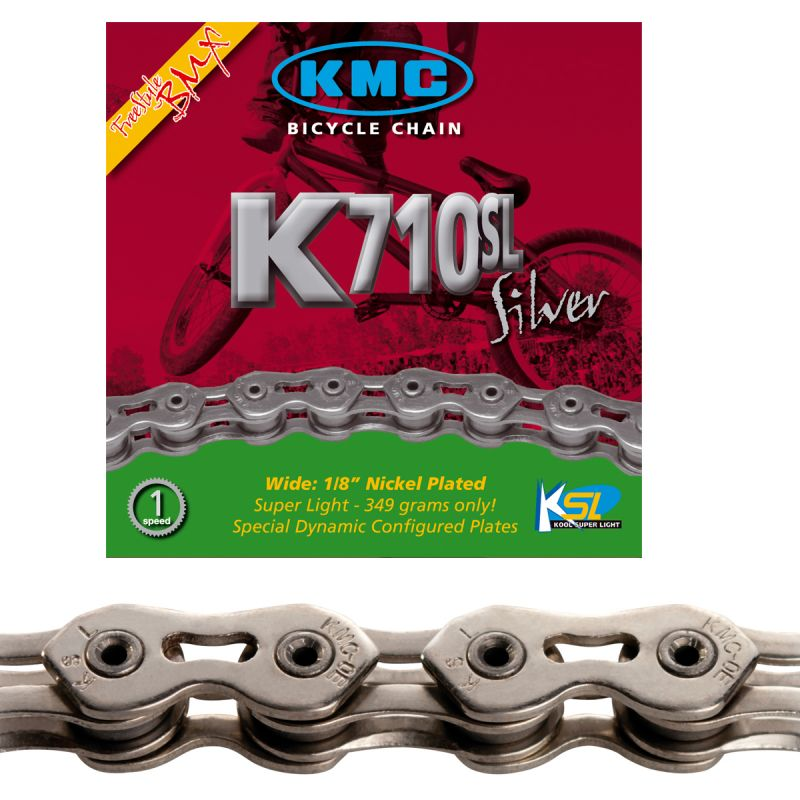 "Chaîne KMC BMX K710SL Silver Kool Series 1/8"" 100M Argent"