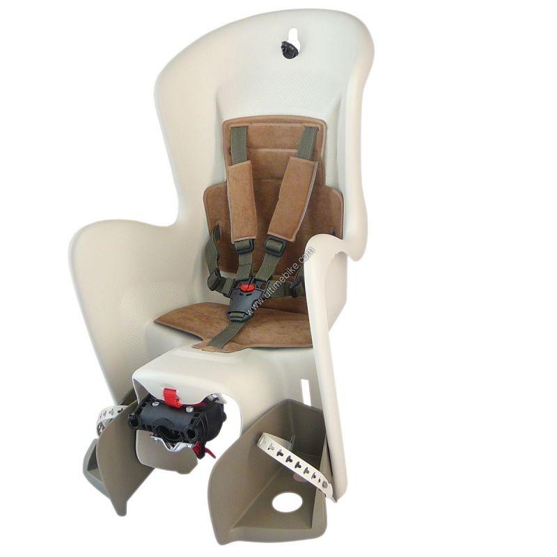 Porte-bébé arrière Polisport Bilby sur porte-bagages Crème/Marron