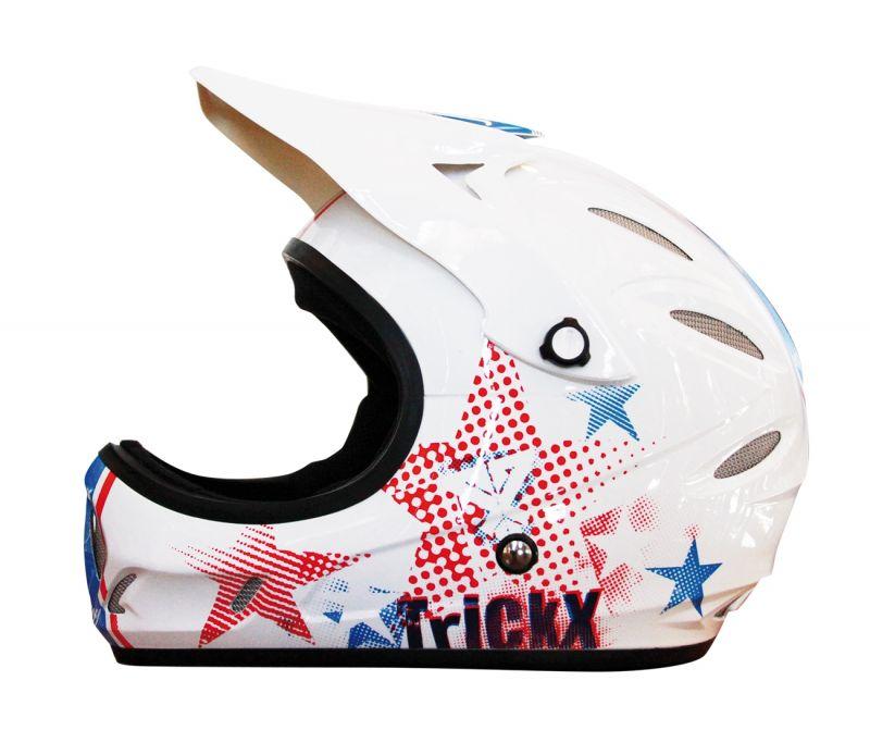 Casque TrickX Full Star Mat Blanc/Rouge