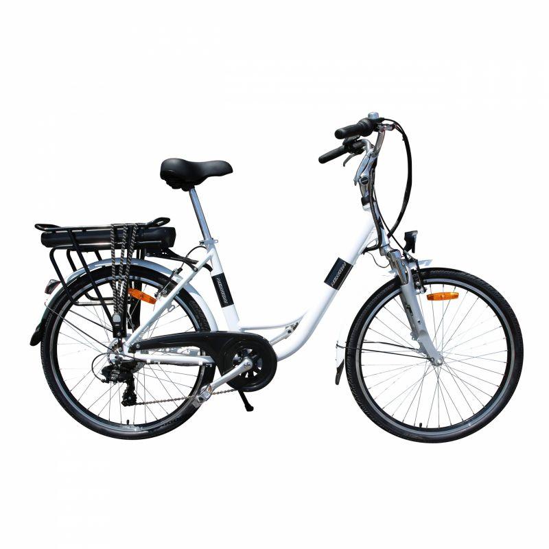 """Vélo électrique ville Newton Alu 26"""" Mixte 6V 36V/468 Wh Blanc nacré"""