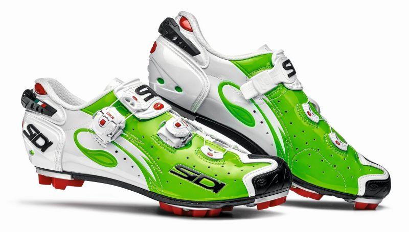 Chaussures Sidi MTB DRAKO CARBON SRS VERNICE vert fluo/blanc verni
