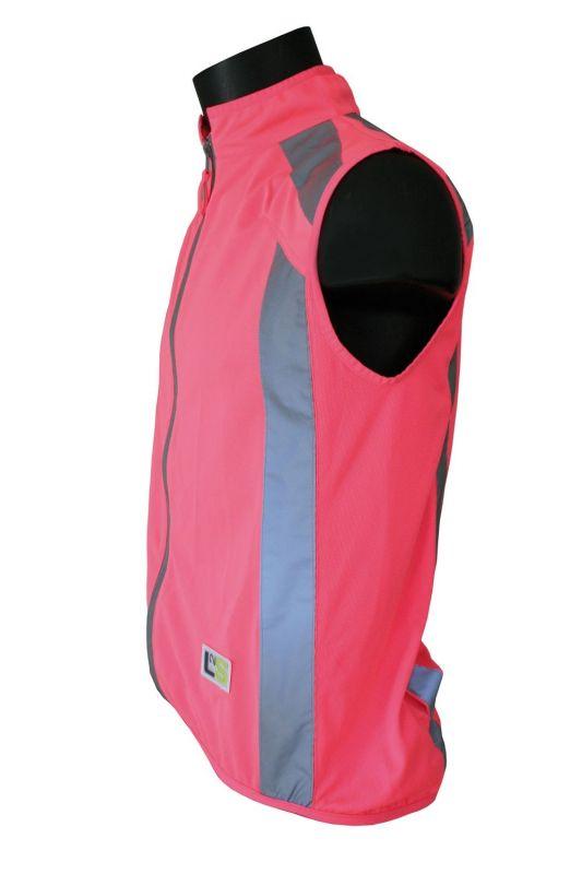 Gilet de sécurité sport L2S Visioplus Rose fluorescent réfléchissant - 1