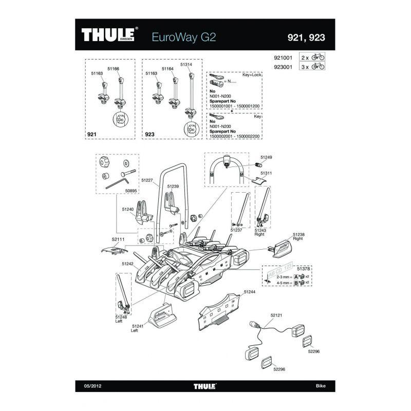 Bras de fixation moyen 2e vélo Thule EuroWay 923/946/947 - 2